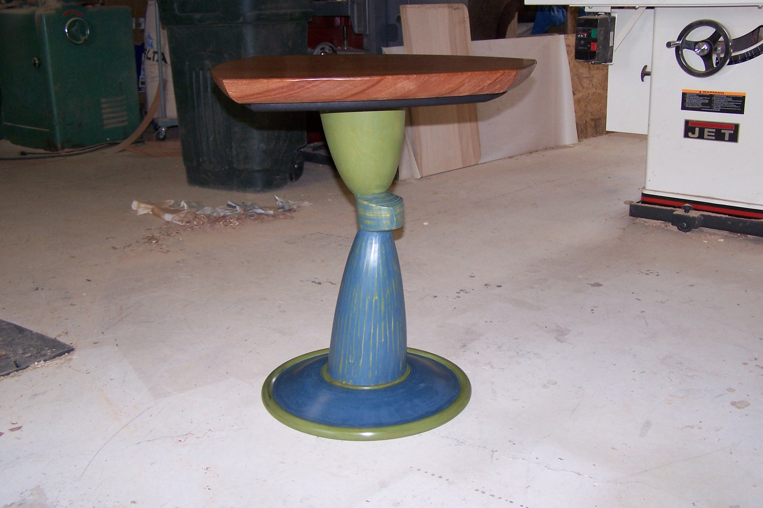 Off-Center Table, millk paint with African Mahogany top